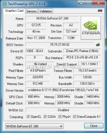 Zotac GT240 AMP 512 MB GDDR5