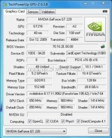 Gainward GT220 512 MB GDDR3