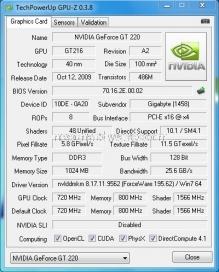 Gigabyte GT220 1 GB OC GDDR3
