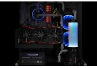Look di grande impatto per una combo RGB vaschetta e pompa pensata per gli impianti a liquido di fascia alta.