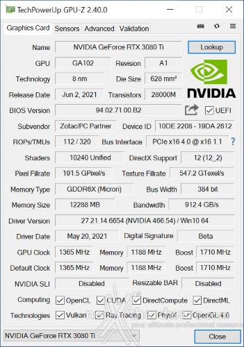 ZOTAC GeForce RTX 3080 Ti AMP Holo 5. Piattaforma di test 2
