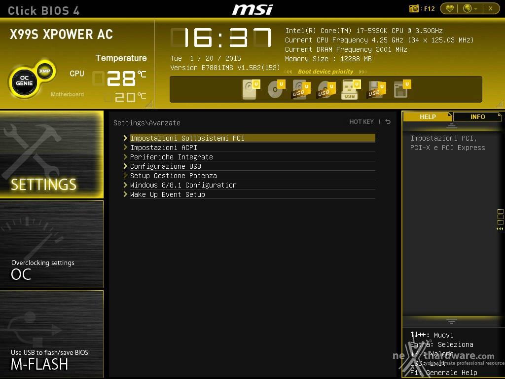 Msi x99s xpower ac 8 uefi bios impostazioni generali for Recensioni h2o power x
