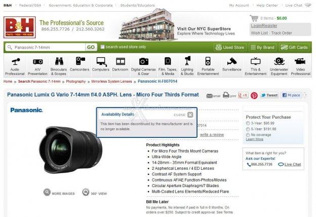 Discontinued? Panasonic Lumix G Vario 7-14mm f/4.0 ASPH. 1